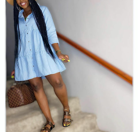 Baby Doll Chamdray Denim Shirt Dress