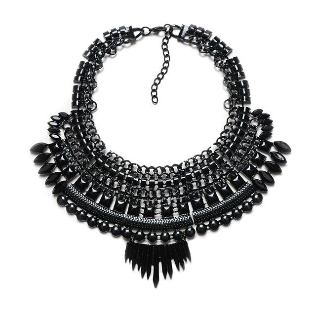 Black Bib Fashion Necklace