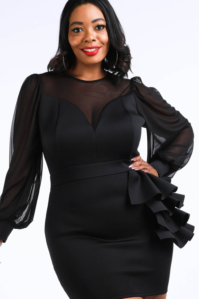 Black Plus Size Scuba Sheer Dress