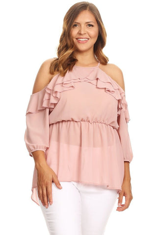 Cold Shoulder Ruffle Accent Top