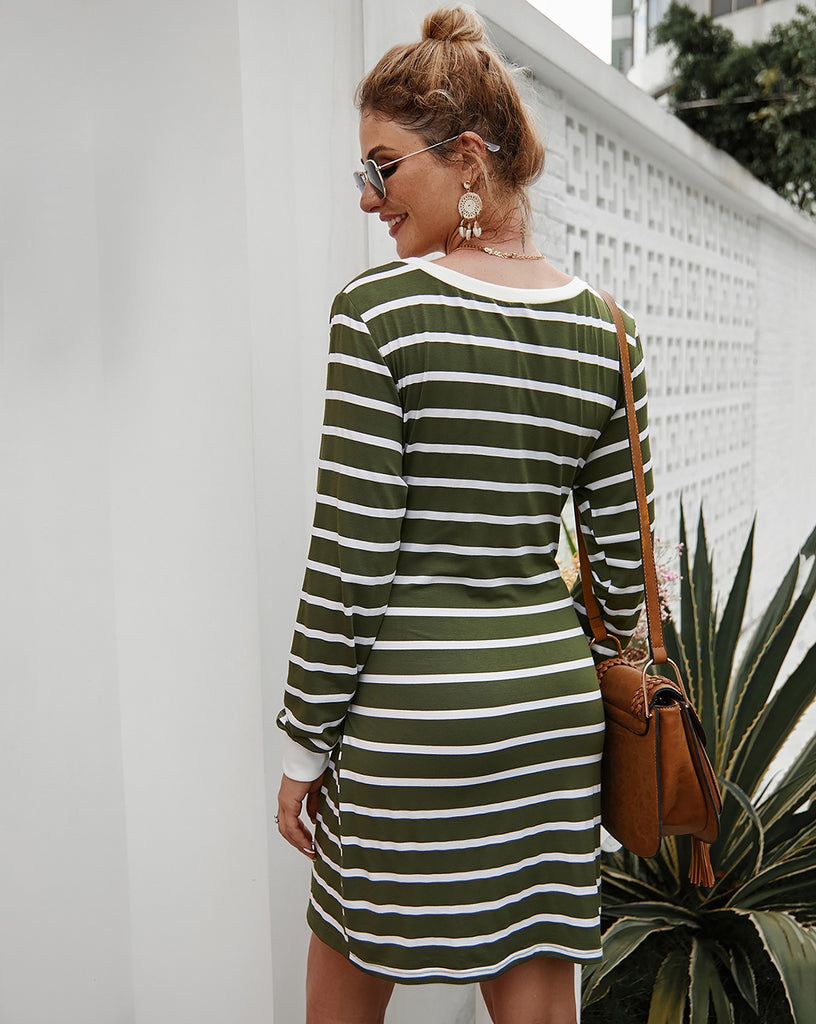 Green Striped Sweater Dresd