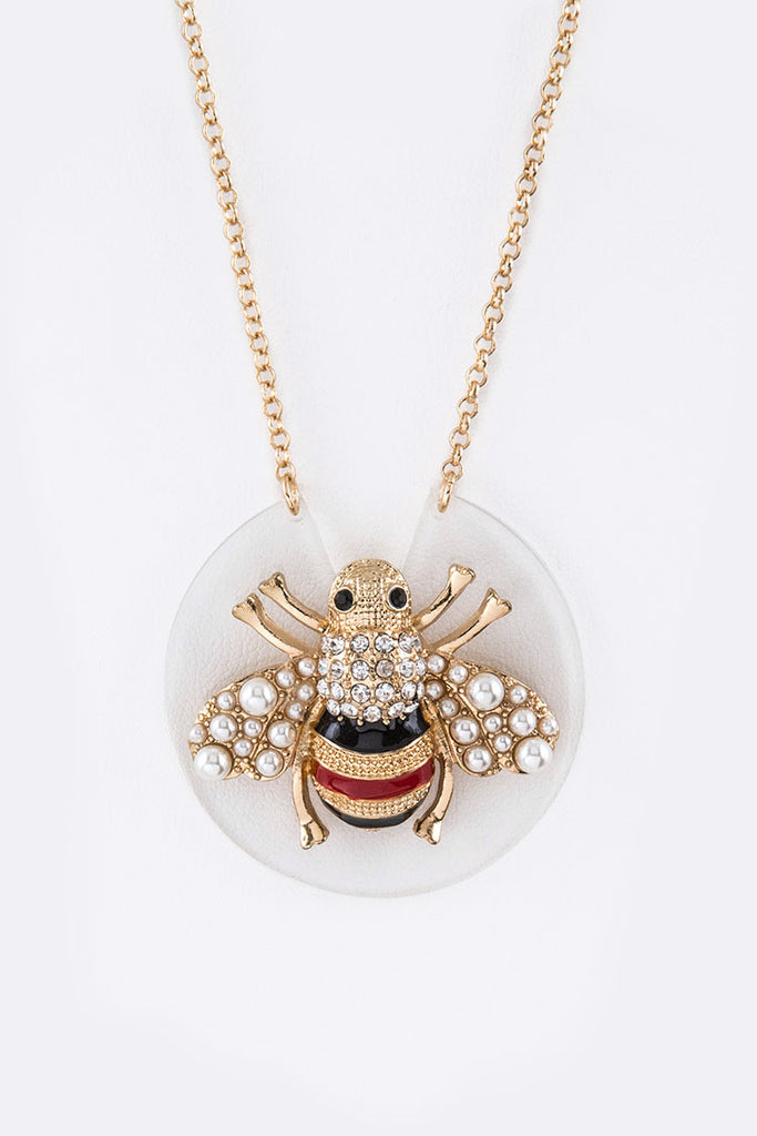 Chanel Inspired Bee Pendant Necklace Set