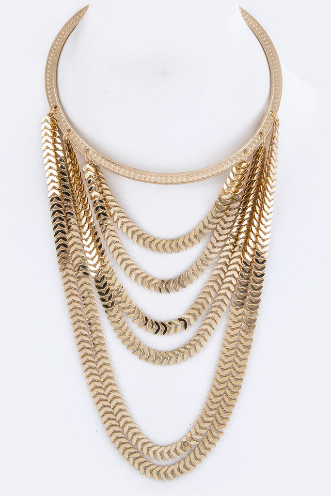 Gold Layered Collar Necklace