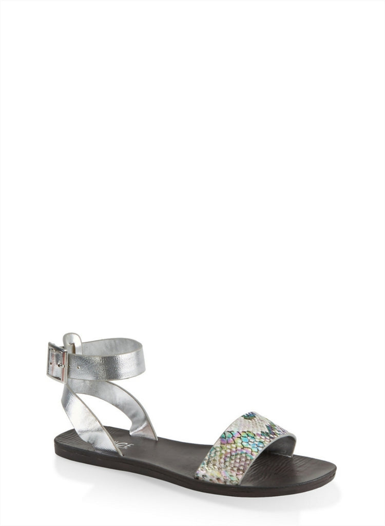 Snake Print Single Band Ankle Strap Sandals