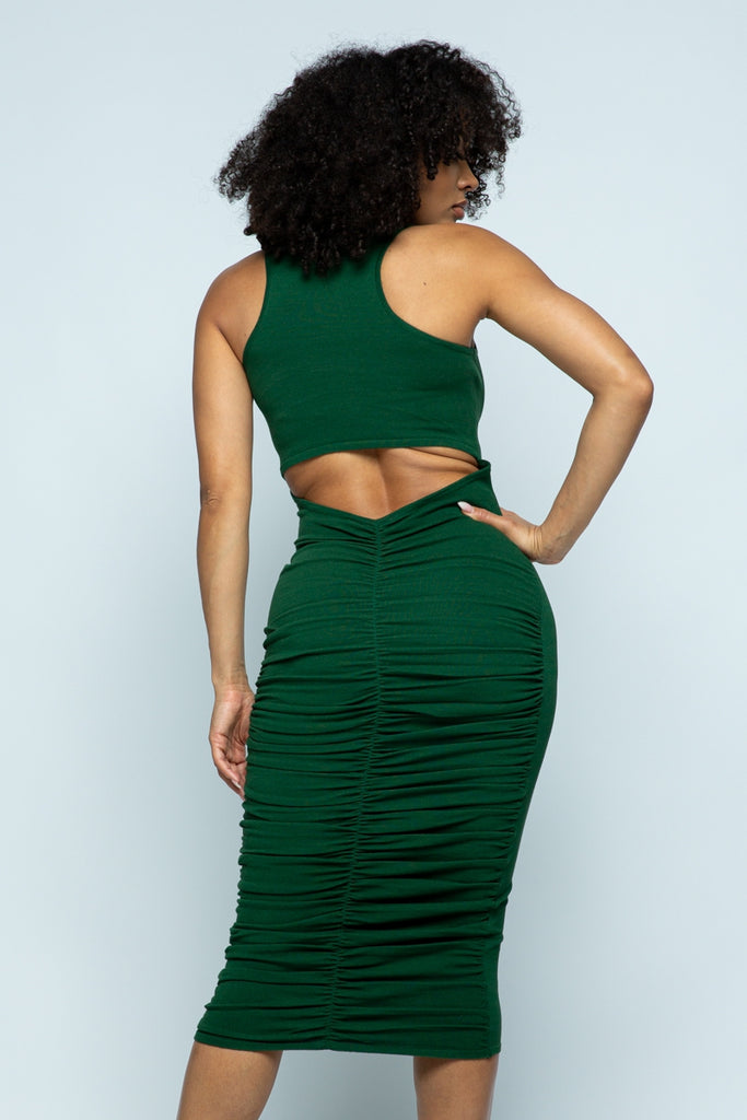 Green Sexy Cut Out Surprise Dress
