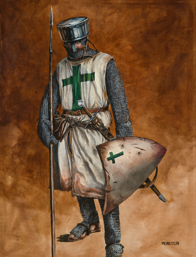 Original Oil Painting - A knight of the Order of Saint Lazarus of Jerusalem