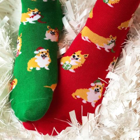 Festive Corgi Slightly Odd Socks