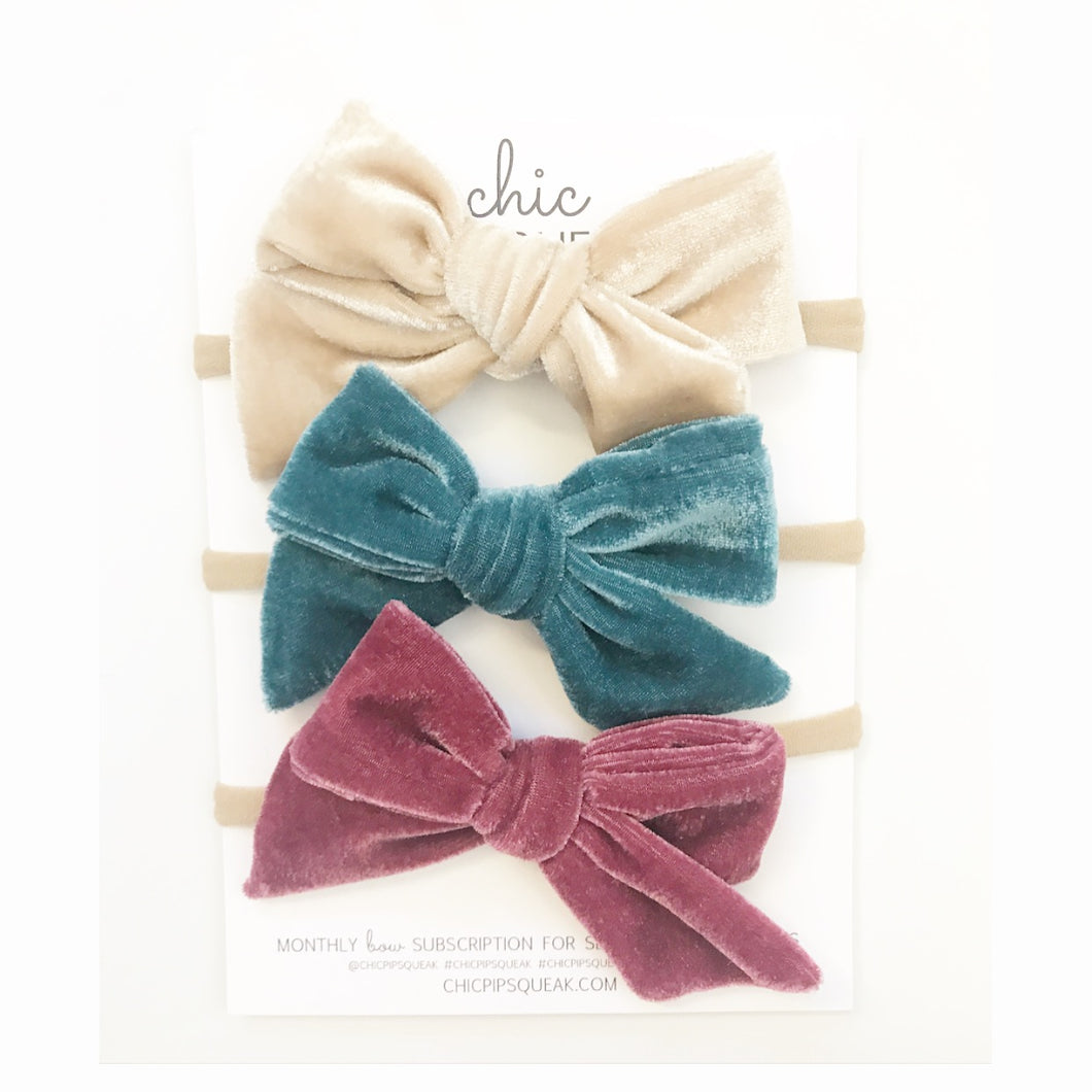 Crushed Velvet Bows- Ivory, Light Teal and Muted Rose Mauve