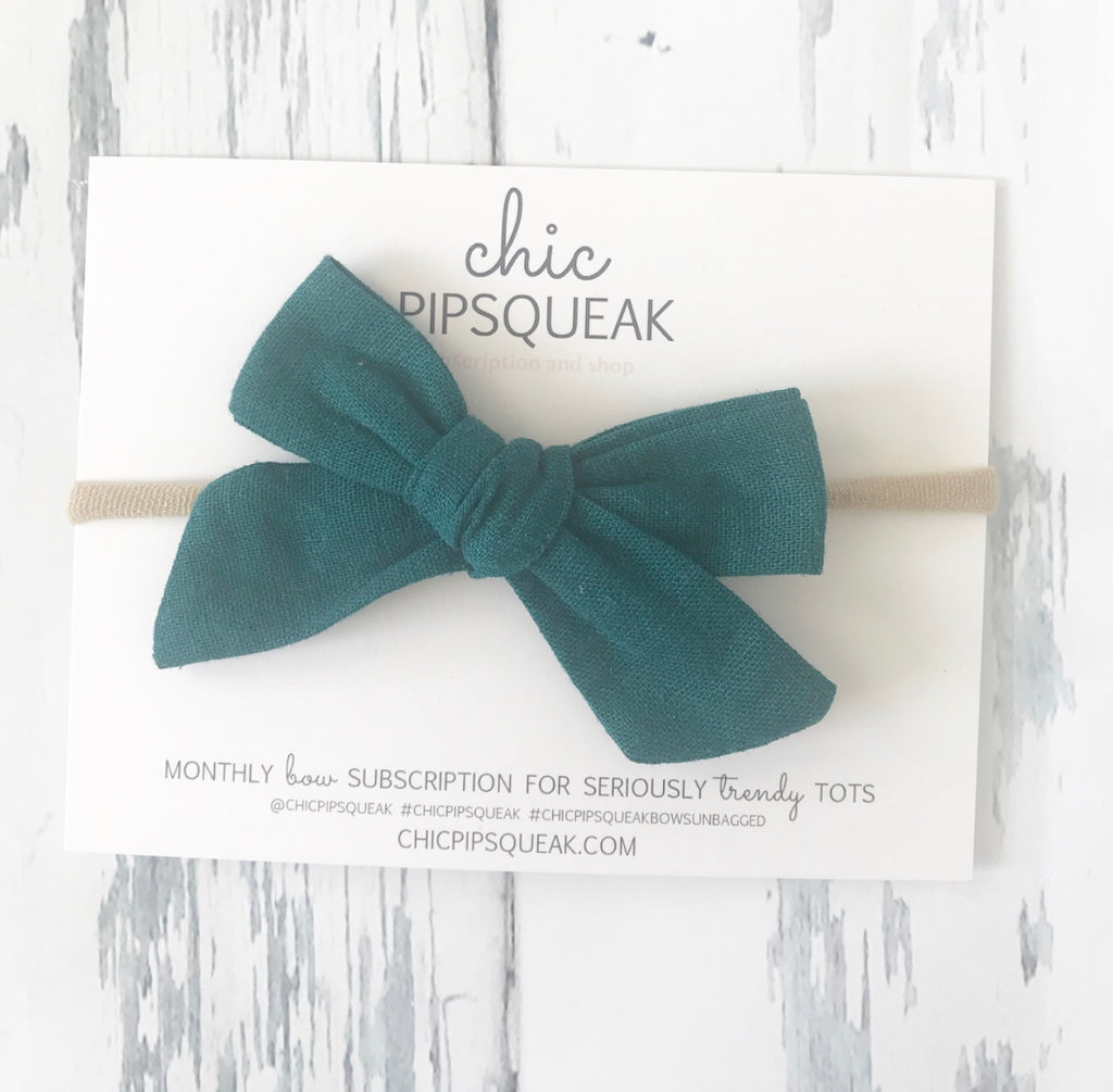 Teal Linen Bow Headband