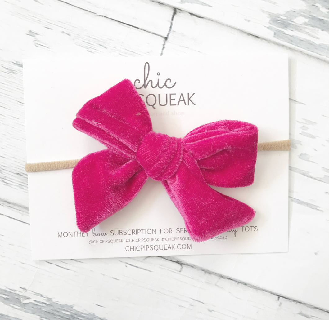 Crushed Velvet Bow- Cherry Pink