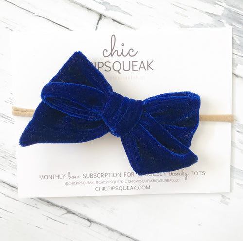 Crushed Velvet Bow- Royal Blue