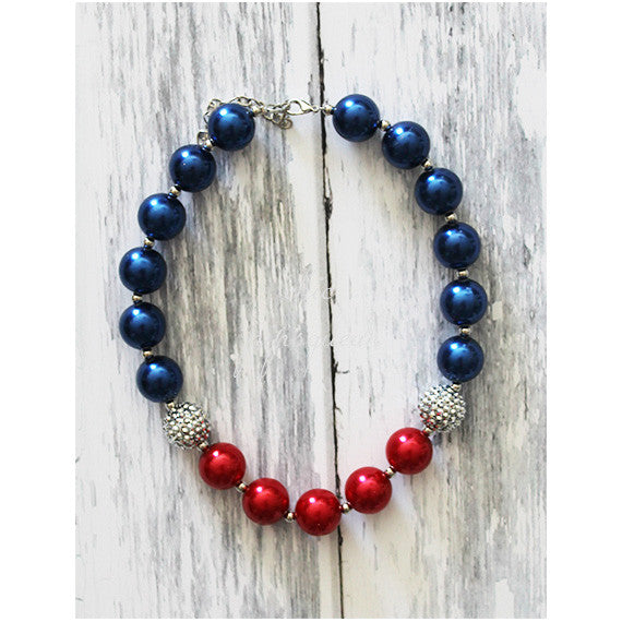 Chunky Bubblegum Baby and Kids Necklace, 4th of July