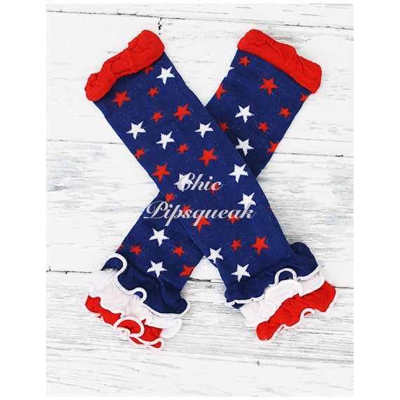 Baby and Kids Leg Warmers, 4th of July Ruffles