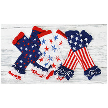 Baby and Kids Leg Warmers, Stars on Blue with Ruffles
