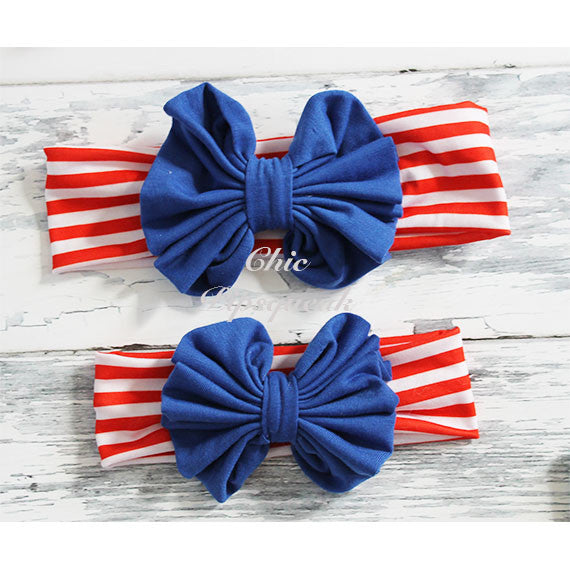 Floppy Bow Headband Solid Color, Royal Floppy Bow on Red/White