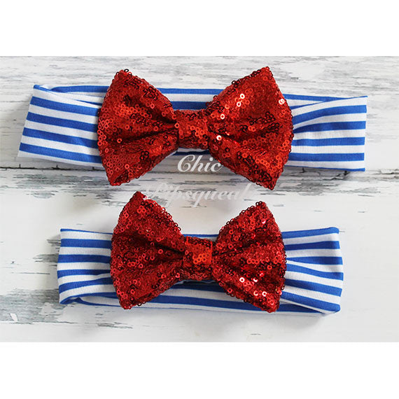 Sequin Bow Headband, Red Sequin Bow on Blue/White