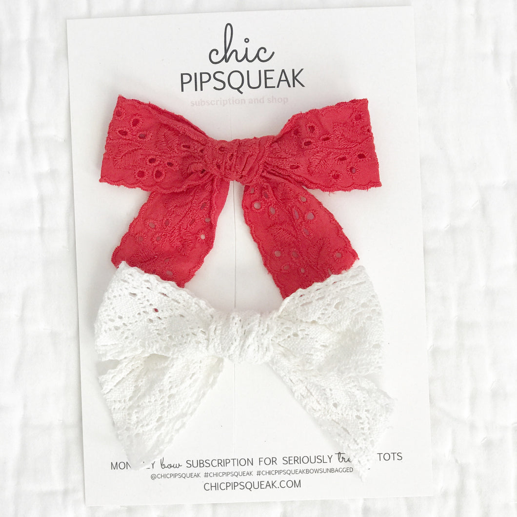 Red and White Eyelet February Add on Bows
