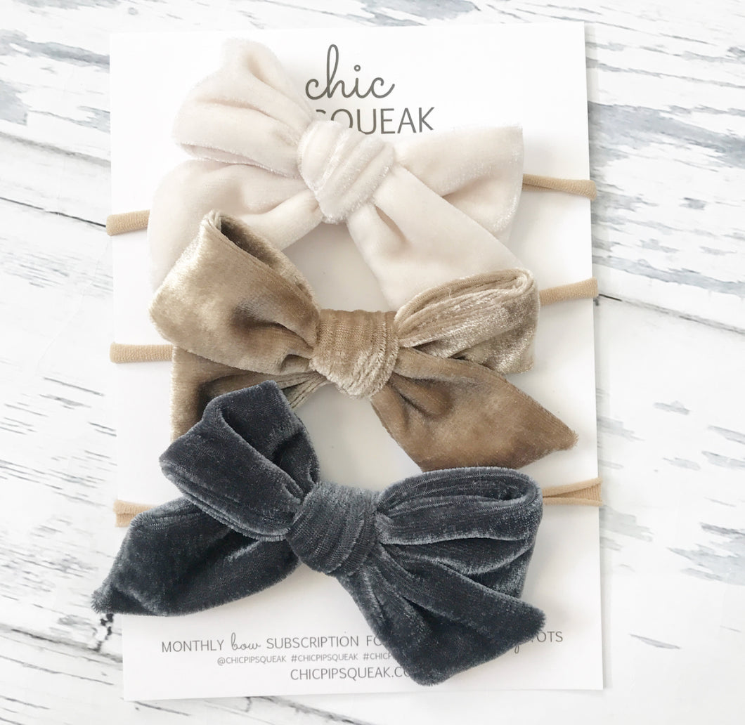 Crushed Velvet Bow Bundle- Off White, Sand and Dark Gray