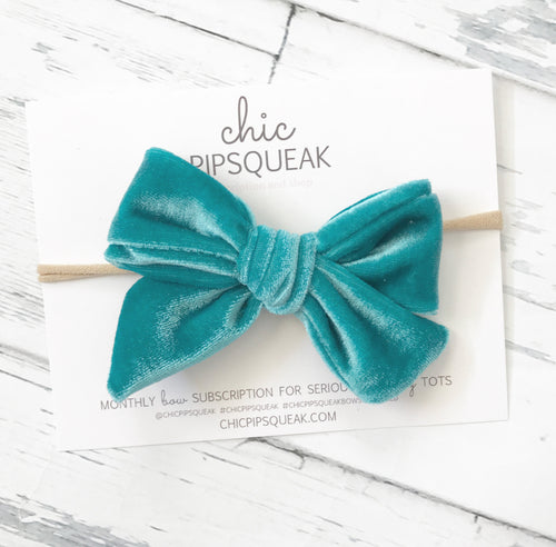 Crushed Velvet Bow- Aqua