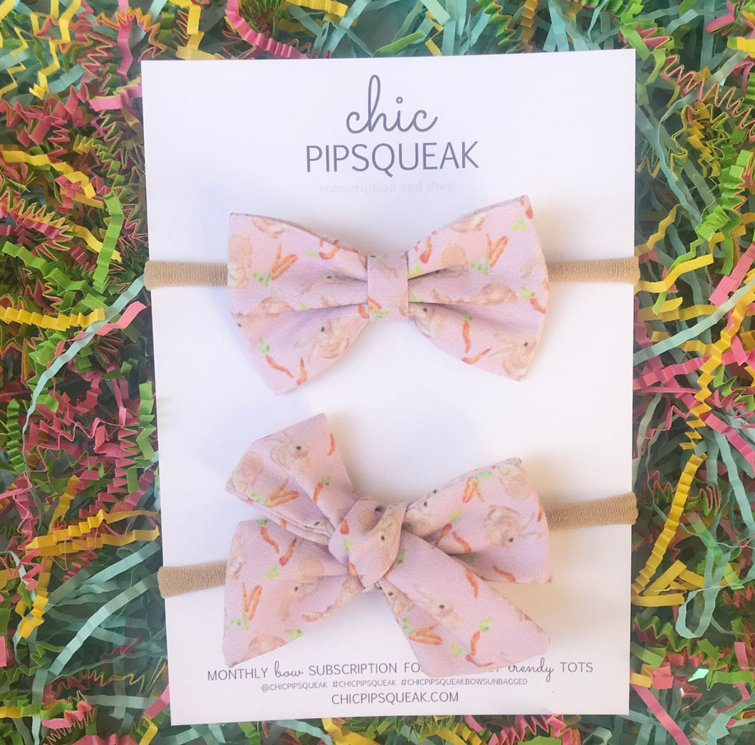 Pink Bunny and Carrot Print Bow