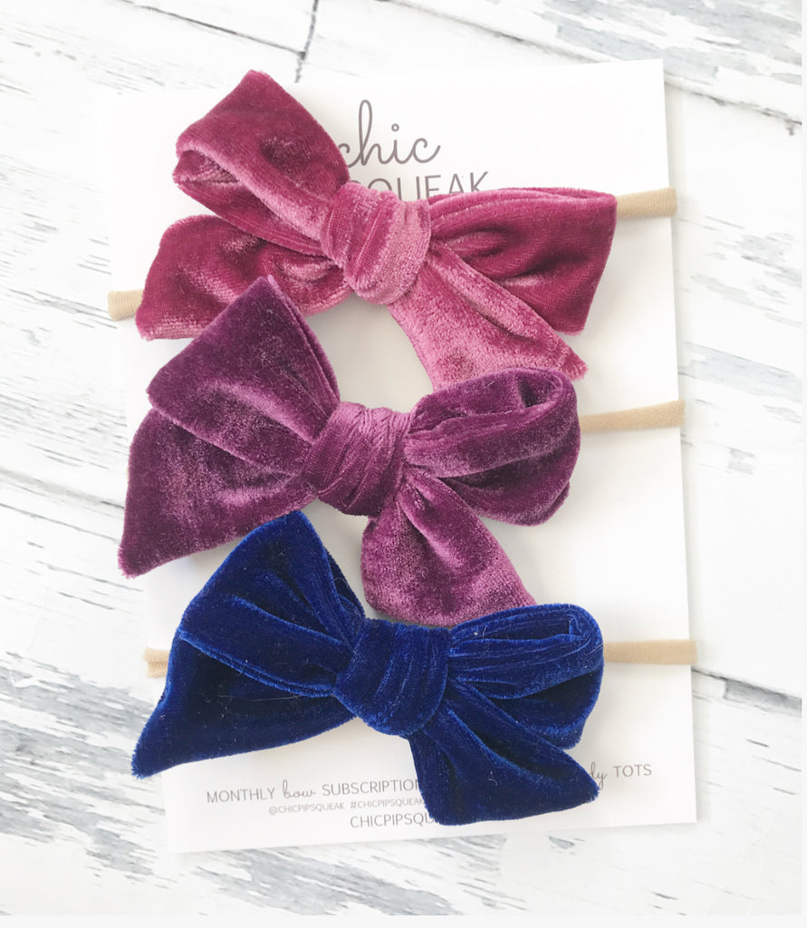 Crushed Velvet Bow Bundle- Raspberry, Plum and Royal