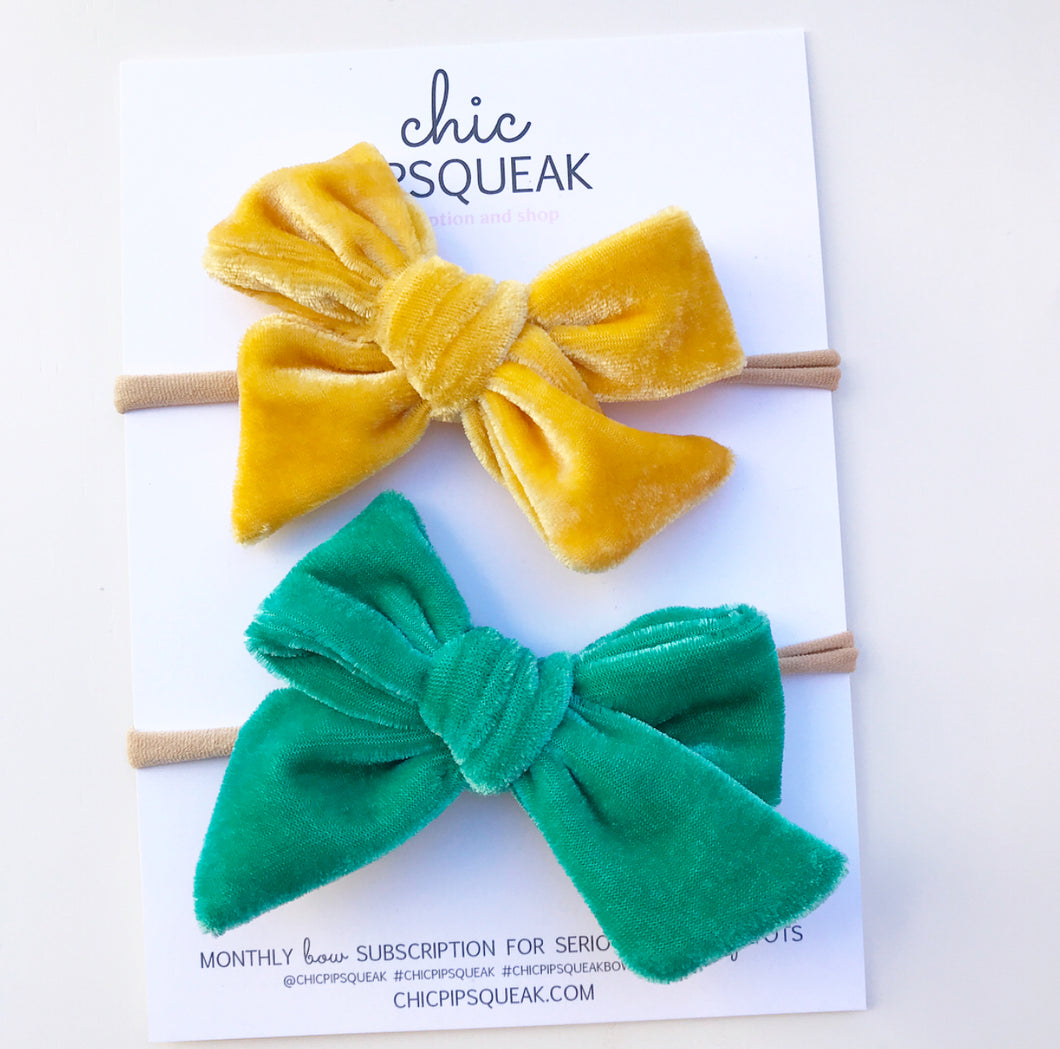 Crushed Velvet Bow Bundle- Butter Yellow and Mint