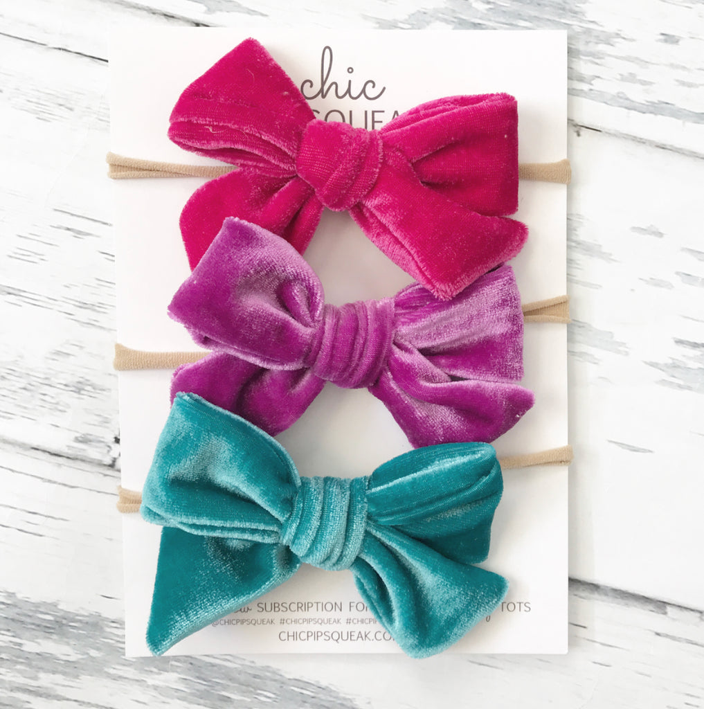 Crushed Velvet Bow Bundle- Cherry Pink, Fandango and Aqua