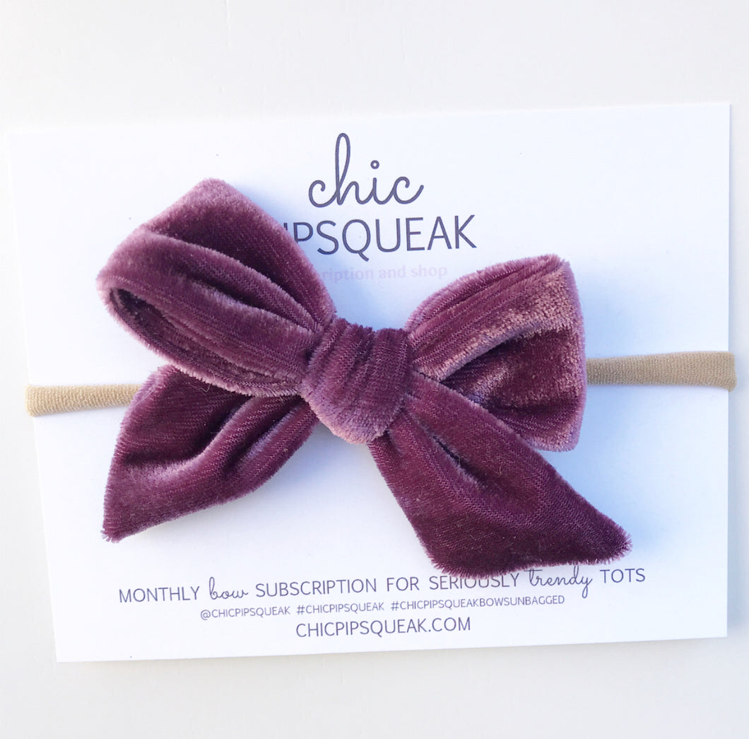 Crushed Velvet Bow- Dusty Purple