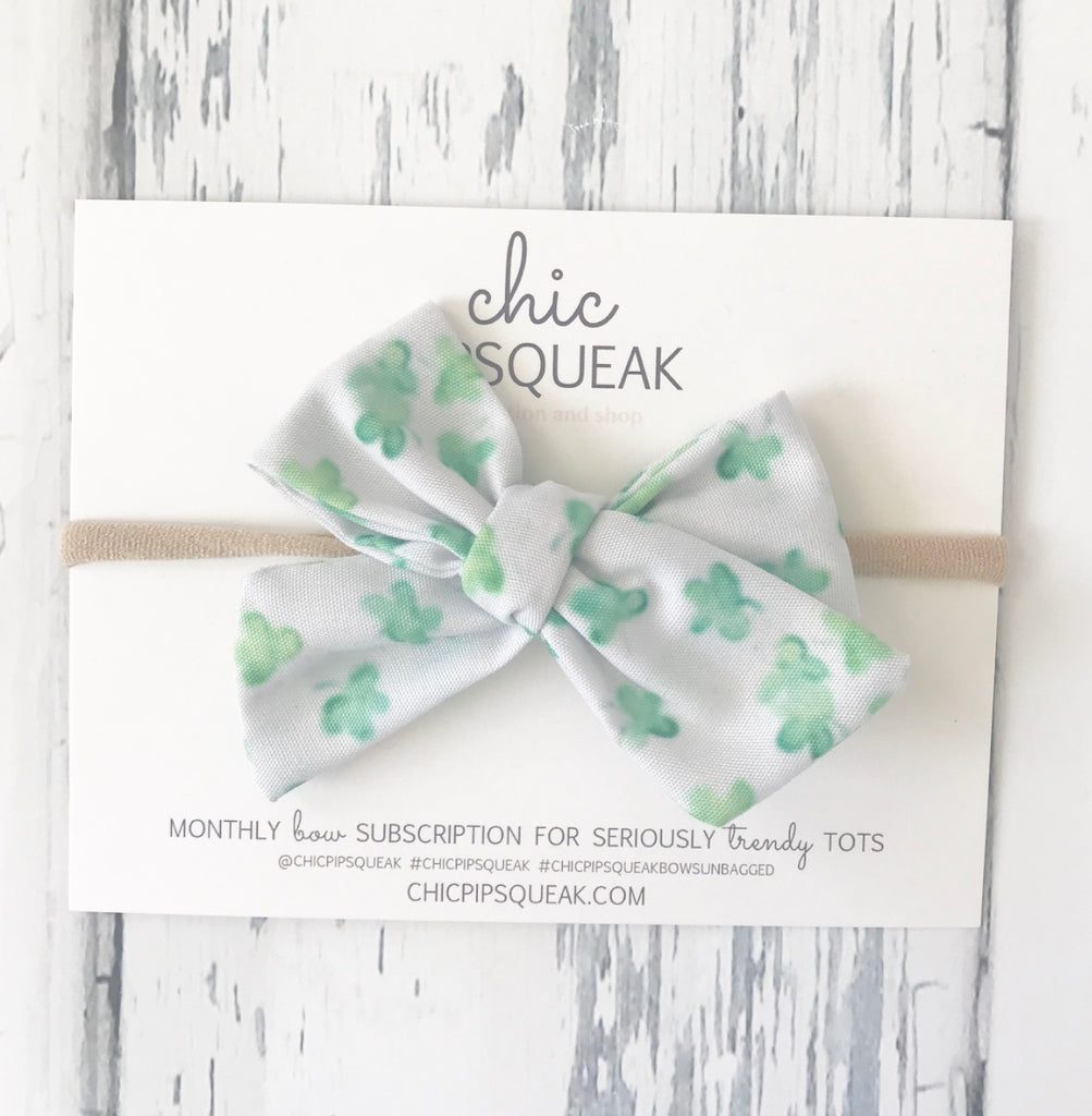 Watercolor Shamrock Hand Tied Bow