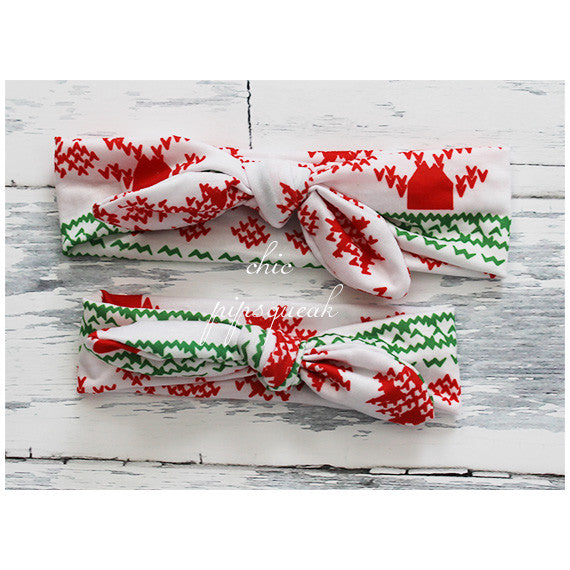 Holiday Top Knot Headbands, Abstract Holiday