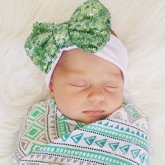 Sequin Bow Headband, Light Green on White