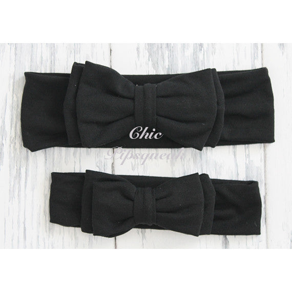 Avery Black Double Bow Baby Headband Headwraps
