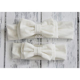 Avery Off White Double Bow Baby Headband Headwraps