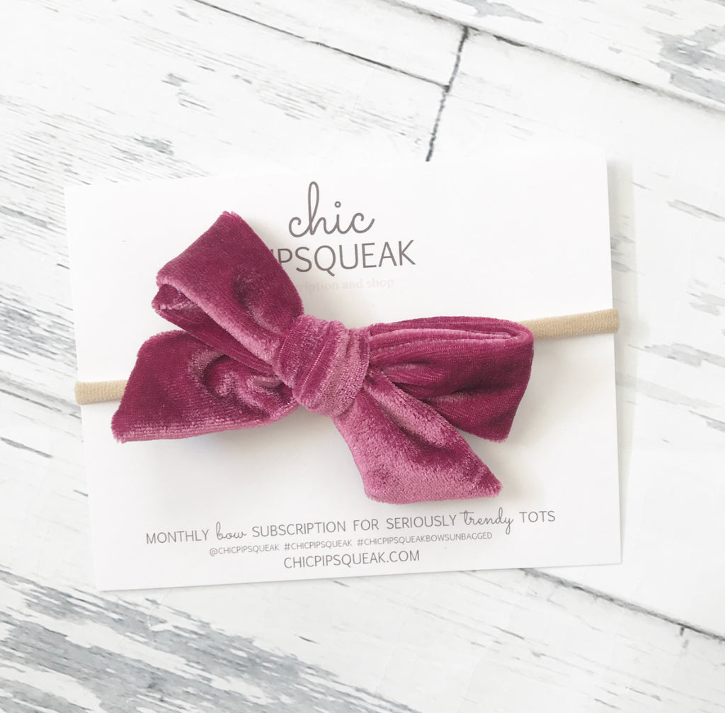 Crushed Velvet Bow- Raspberry