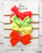 NEON Hand Tied Mini Pipsqueak Bows- Pink Coral