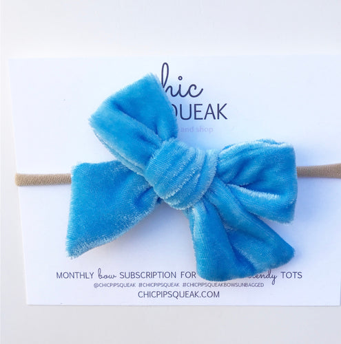 Crushed Velvet Bow- Sky Blue
