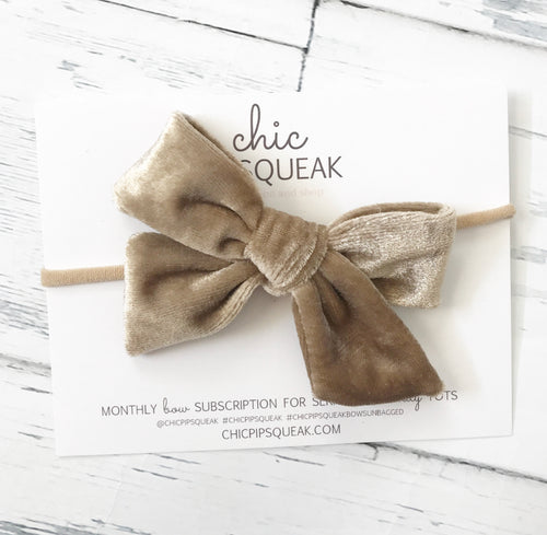 Crushed Velvet Bow- Sand
