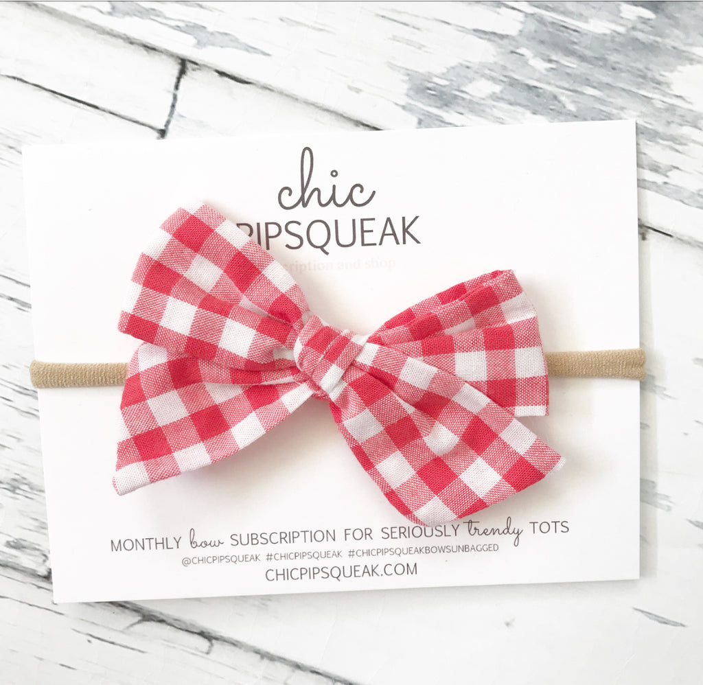 Red Gingham Hand Tied Pipsqueak Bow