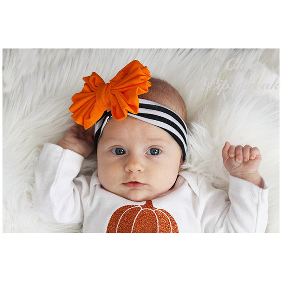 Floppy Bow Headband, Orange Floppy Bow on Black/White Stripe