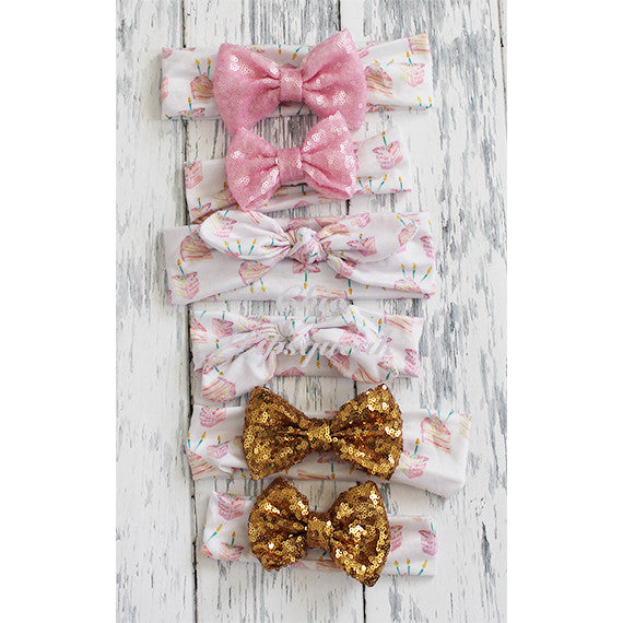 Sequin Bow Headband, Birthday Cake