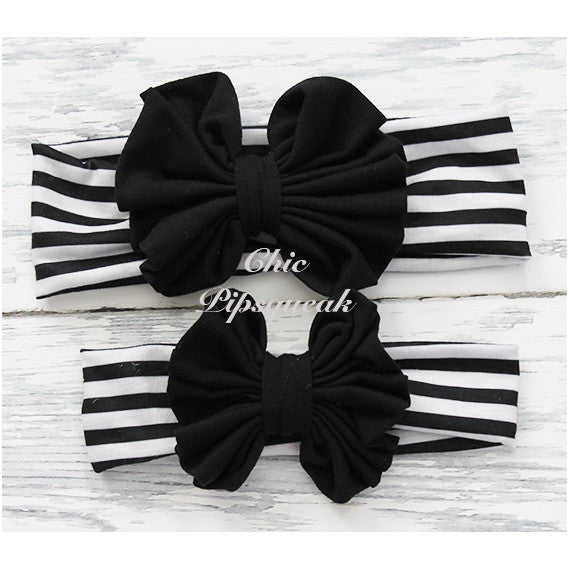Floppy Bow Headband, Black Floppy Bow on Black/White Stripe