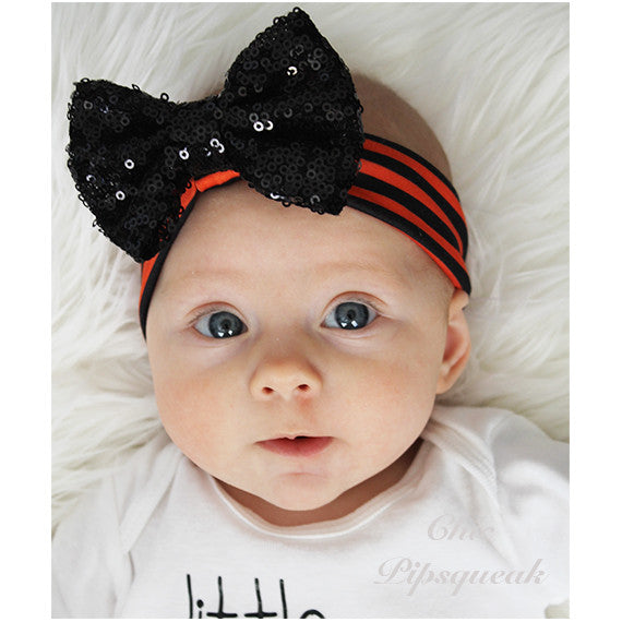 Sequin Bow Headband, Black on Orange/Black