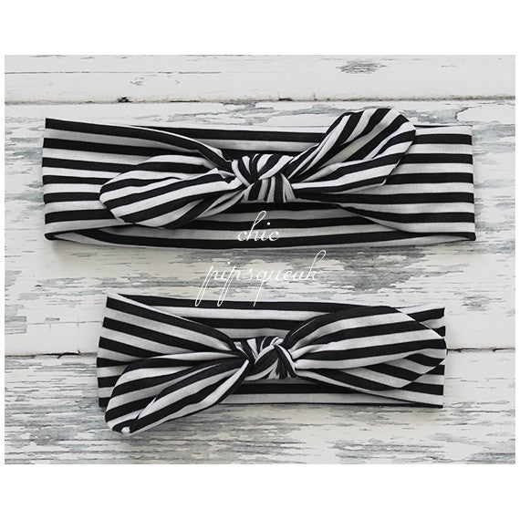 Top Knot Headband, Black and White Stripe