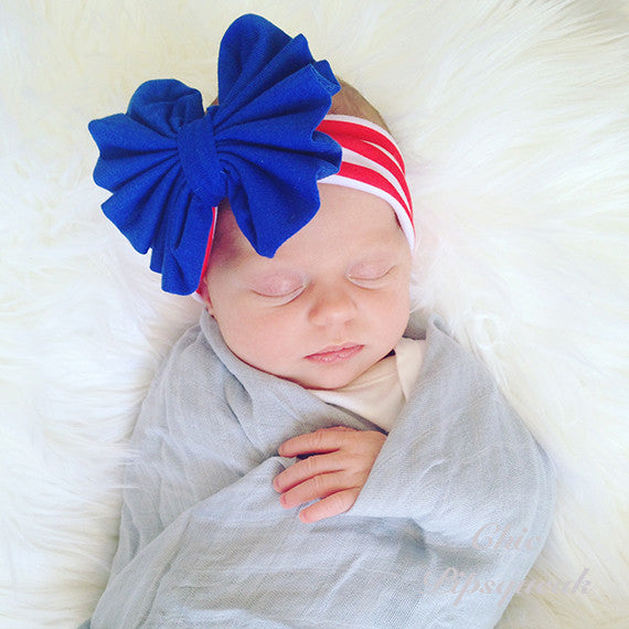 Floppy Bow Headband, Blue Floppy Bow on Red/White Stripe