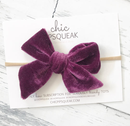 Crushed Velvet Bow- Plum