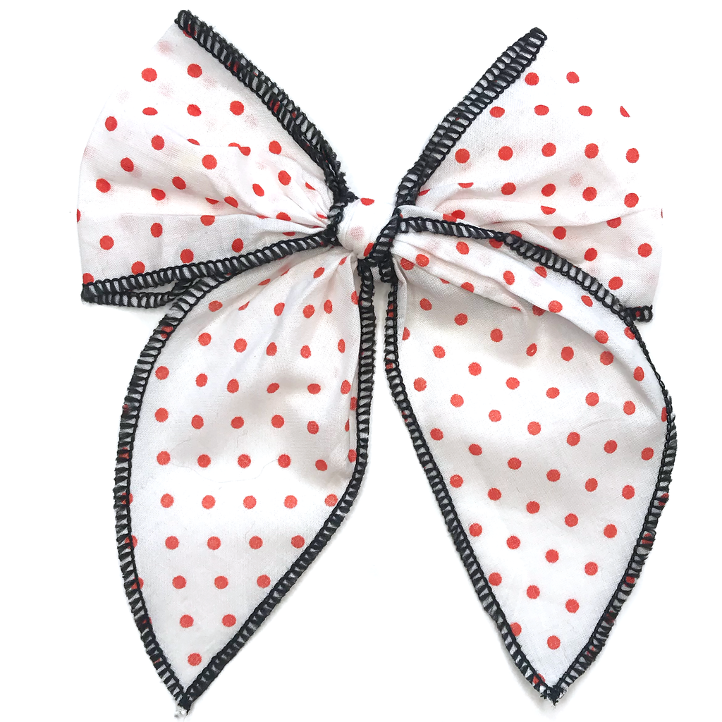 Cameryn- White with Orange Polka Dots