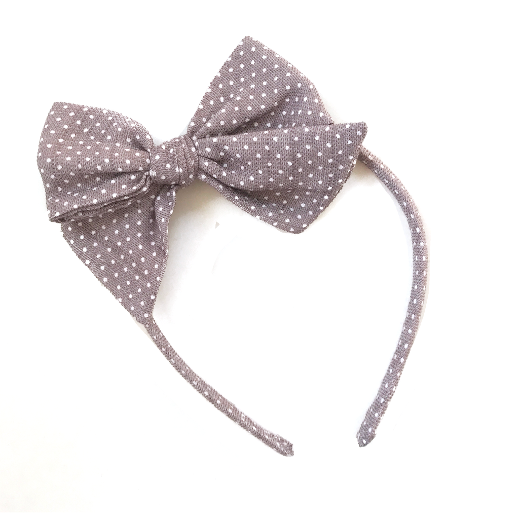 Collette Headband- Dusty Purple Dot