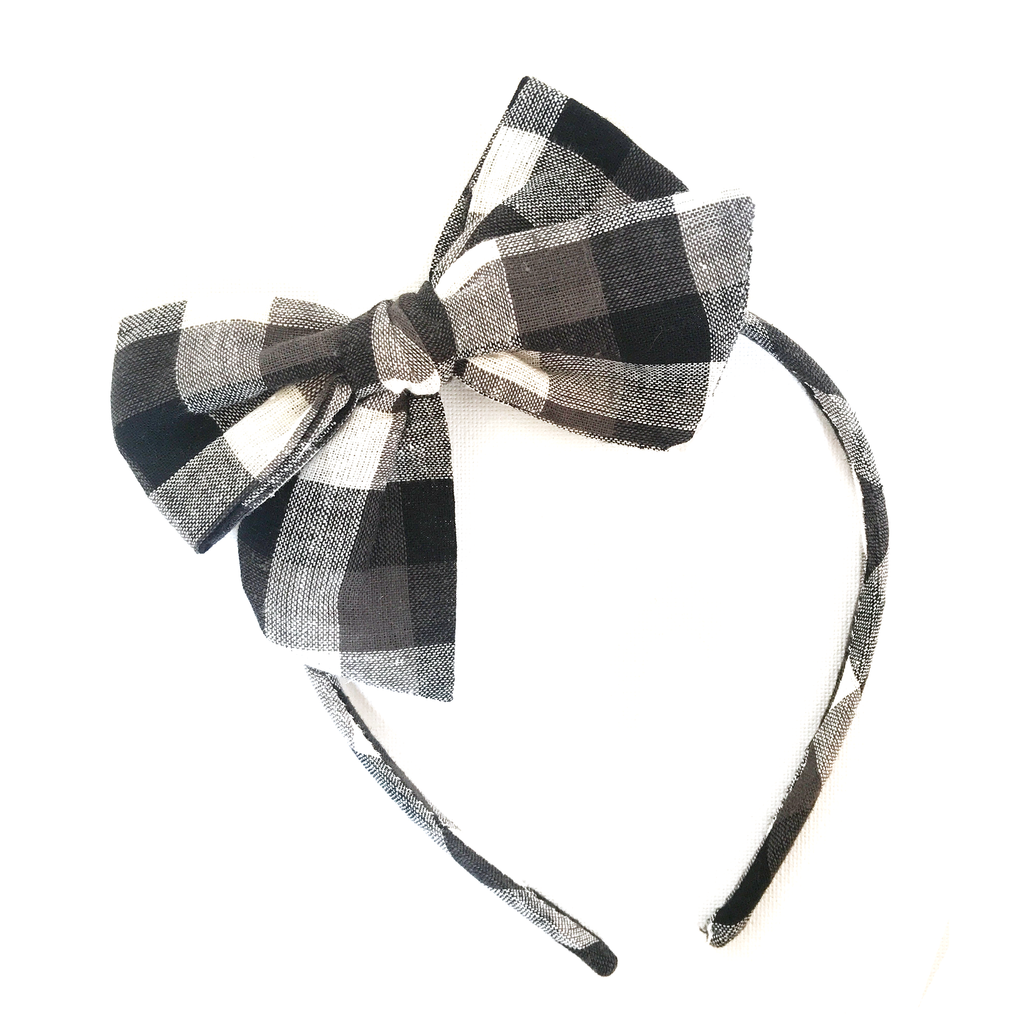 Collette Headband- Large Black Check