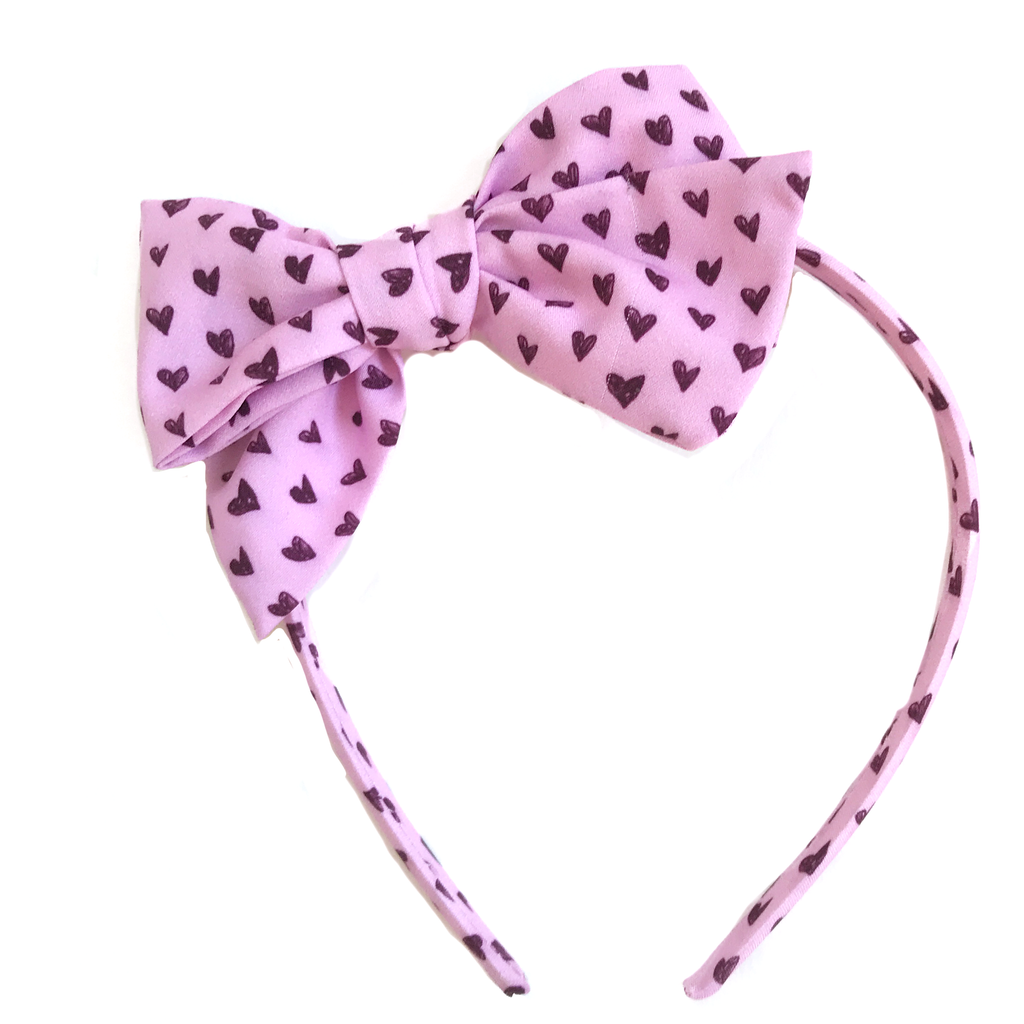 Collette Headband- Light Pink Black Heart