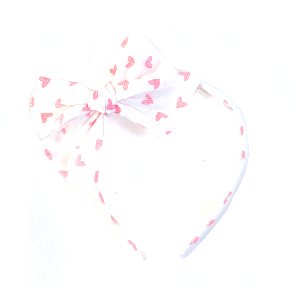 Collette Headband- Pink Hearts on White